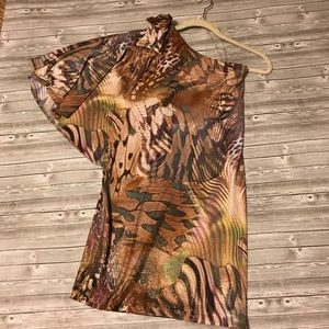 NWT Cache One Shoulder Gold Animal Print Dress S